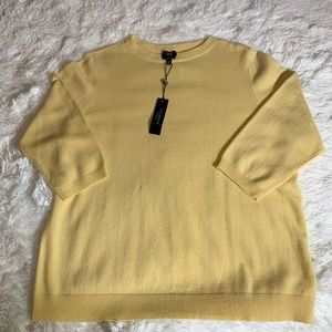 Yellow cashmere 3/4 sleeve sweater